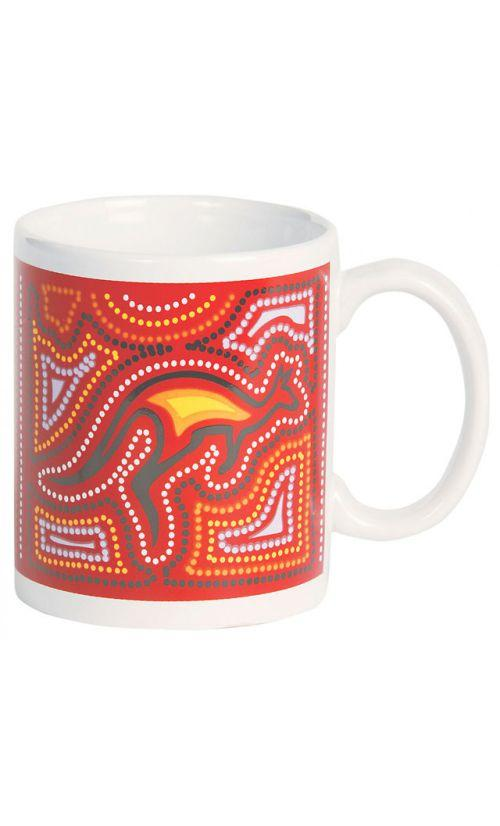 DOT ART STONEWARE MUG PATTERNS OF AUSTRALIA RED