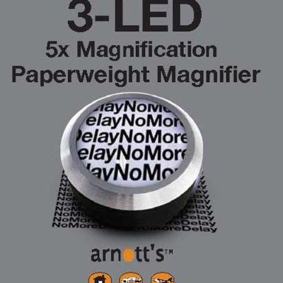 5X'S MAGNIFIER 3LED PAPERWEIGHT